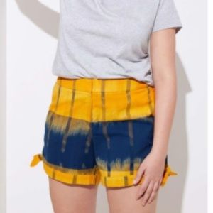 LOFT yellow and navy ikat side tie shorts M